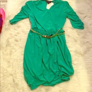 Green jessica howard dress with belt
